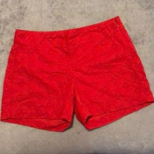 Banana Republic red patterned side-zip shorts